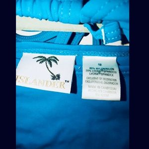 Islander Swim - Islander teal string bikini with palm tree